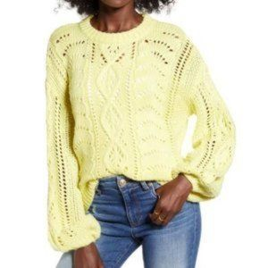 All in Favor Nordstrom Yellow Crew neck Cable knit